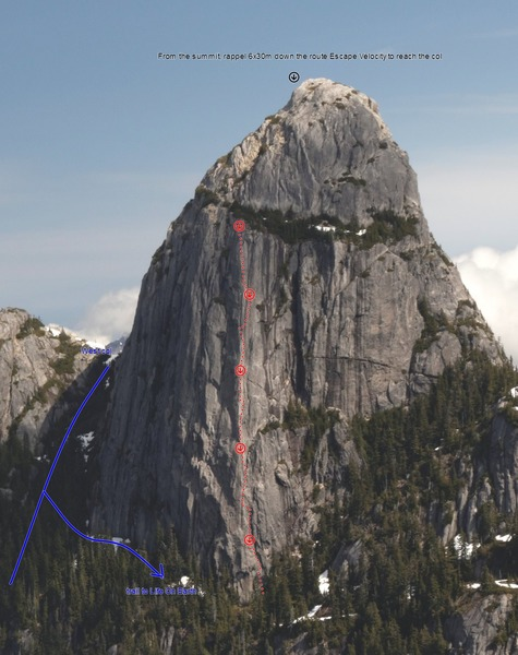 Rock Climbing Photo: Photo topo of Life On Earth, Mt. Habrich