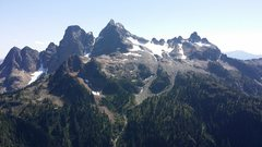 Rock Climbing Photo: Ledge mountain and Sky Pilot as seen from the rout...