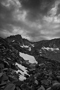 Rock Climbing Photo: Bear Creek Spire ahead...with lil bits of snow lef...