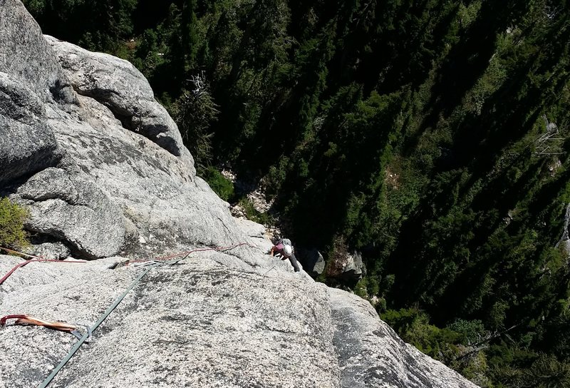 Rock Climbing Photo: Looking down on pitch 2 of Life On Earth, Mt. Habr...