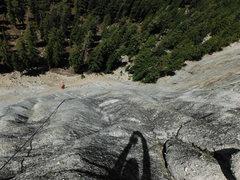 Rock Climbing Photo: Looking down on P3 - La Bella Luna