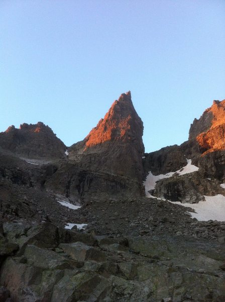 The Northeast Ridge is in the center of the formation painted by the sunrise.  It turns into a bit of a flying buttress.