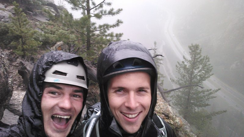 Rock Climbing Photo: Bailing on Royal Flush during a crazy rain/hail st...