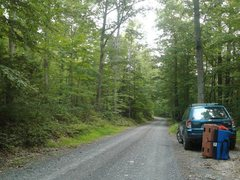 Rock Climbing Photo: Parking pull off. The boulders are to the left and...