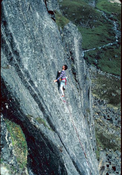 Rock Climbing Photo: Jim Sweeney on Zulu Warrior circa 1988