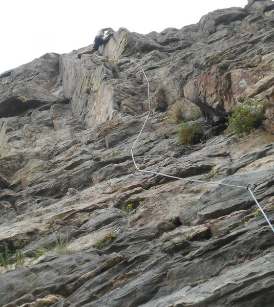"""Carl Pluim nearing the crux on """"Free Up the Weed""""."""