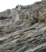 "Rock Climbing Photo: Carl Pluim nearing the crux on ""Free Up the W..."