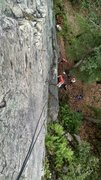 Rock Climbing Photo: Looking down on the route.  The climber is hiking ...
