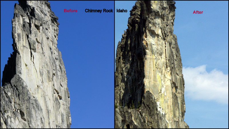 Chimney Rock Before and After the rock fall destroying a bunch of routes on the east face