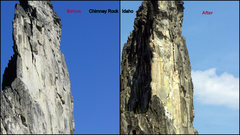 Rock Climbing Photo: Chimney Rock Before and After the rock fall destro...