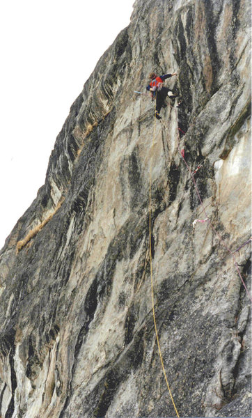Reed Valley, The inferno. Steve Garvey on The Taxman Cometh 5.10a, FA