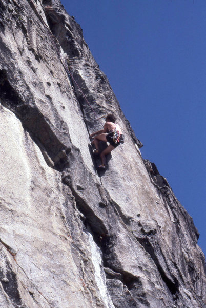 Jim Sweeney on Escape from the Lemming Ranch 5.10b, The Inferno, Reed Valley