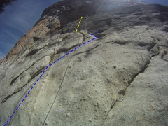 Rock Climbing Photo: Beta Photo - blue line = Trad section, Yellow Line...