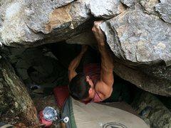 Rock Climbing Photo: Approaching the lip crux