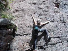 Rock Climbing Photo: Mary, clipping 1st bolt.