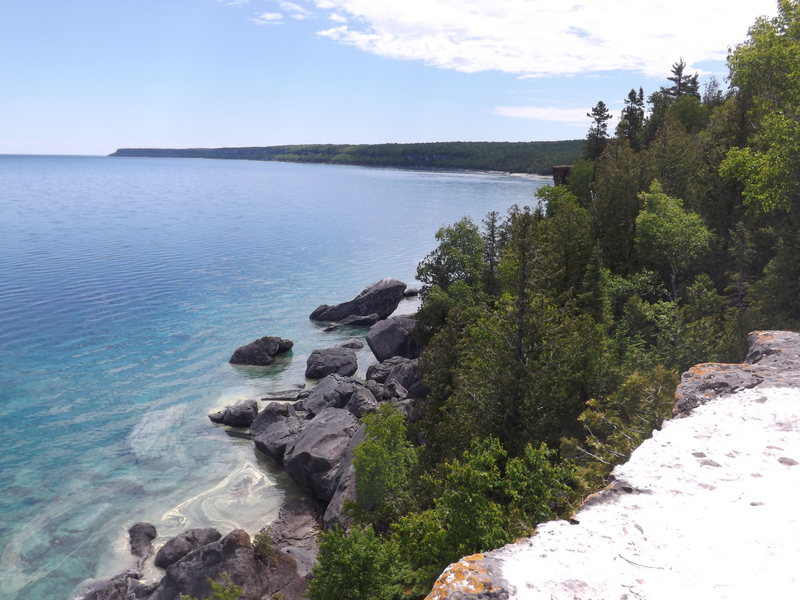 View of the beach and Whale Boulder from above the escarpment