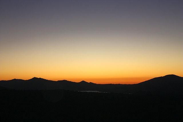 Sunset over Big Bear Lake from 2N93, San Bernardino Mountains