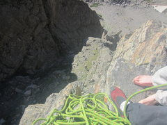 Rock Climbing Photo: Looking down from pitch 2. Note the person standin...