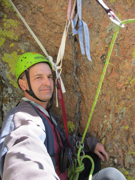 Rock Climbing Photo: The three pin belay at the top of pitch 2. Quite s...