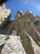 Rock Climbing Photo: The ledge at the top of pitch 4. It's hard to make...