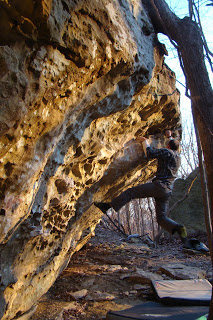A local climber sends Formaldehyde on a beautiful evening. Photo credit The iLlustrated Man