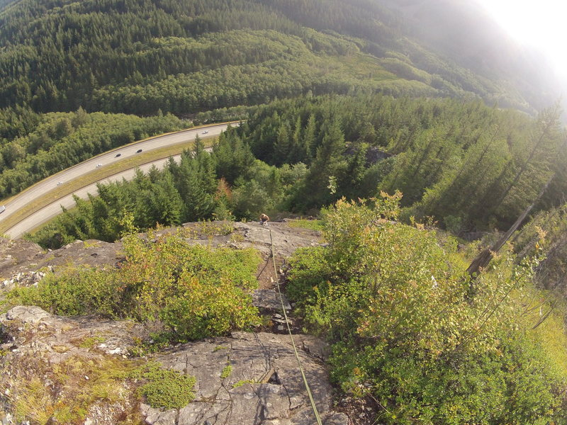 Rock Climbing Photo: Looking down from the top of 2nd pitch of ES-2