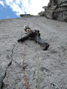 Rock Climbing Photo: Lisa making an impressive onsight of the crux pitc...
