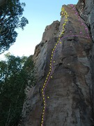 Rock Climbing Photo: Yellow = Hear the Music Pink = Welcome to the Jung...