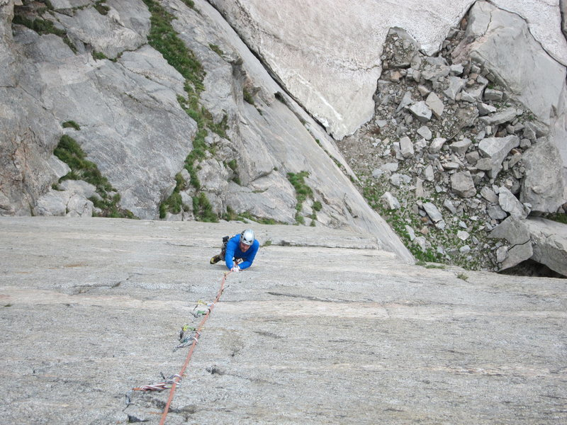 Dave cranking thin fingers on the incredible crux pitch of Sinners on Sunday.