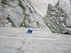 Rock Climbing Photo: Dave cranking thin fingers on the incredible crux ...