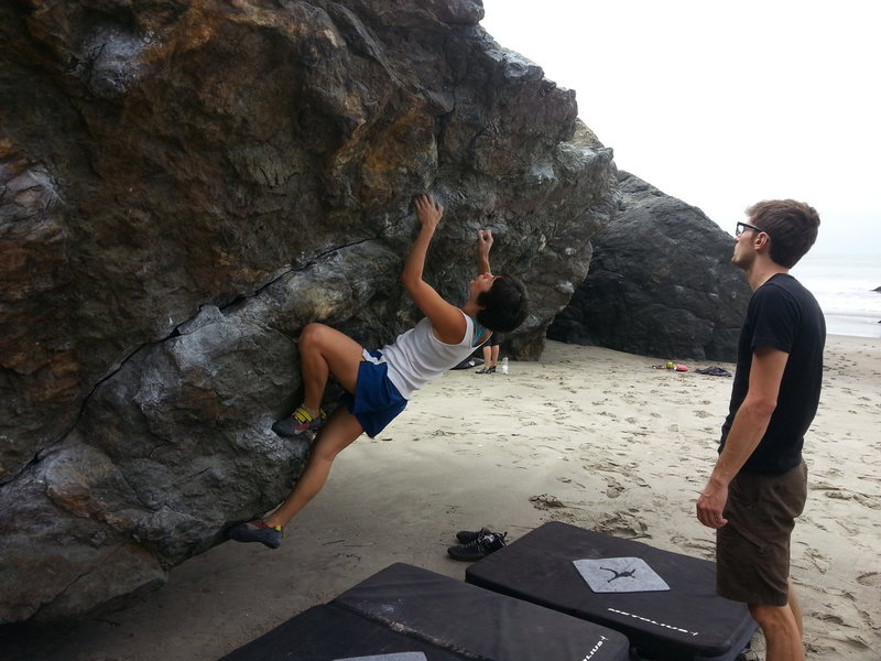 Rock Climbing Photo: warming up on Diagonal