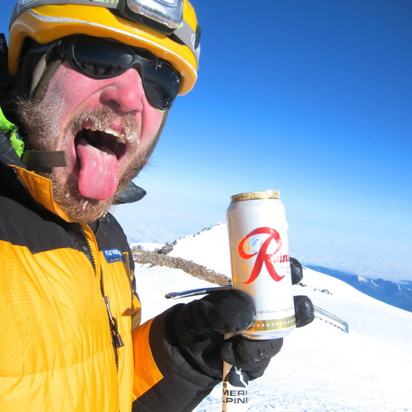 An ice cold Rainier on the summit of Rainier.  It froze solid in about 2 minutes