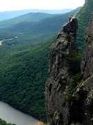 Rock Climbing Photo: Setting up the belay on the summit of the Eaglet. ...