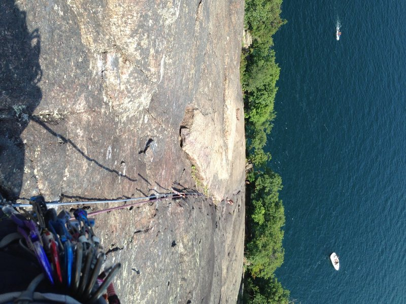 Looking down from the top of pitch 2 or so.  Looks a lot steeper in this photo than it is!