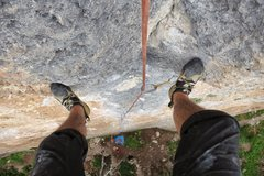 Rock Climbing Photo: Looking down from anchors.