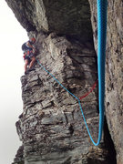 Rock Climbing Photo: nice look at the roof traverse of P2 start