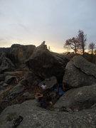 Rock Climbing Photo: Taylor lais climbs Rail Gun as Mike Madsen, John A...
