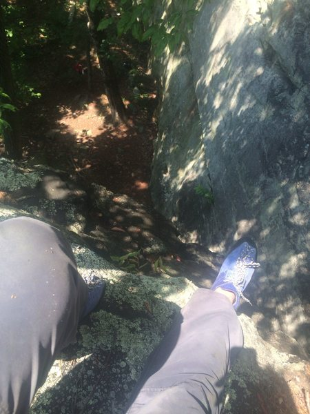 A small free climb while taking a break.