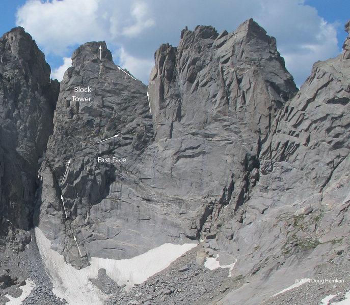 Rock Climbing Photo: East Face of Block Tower