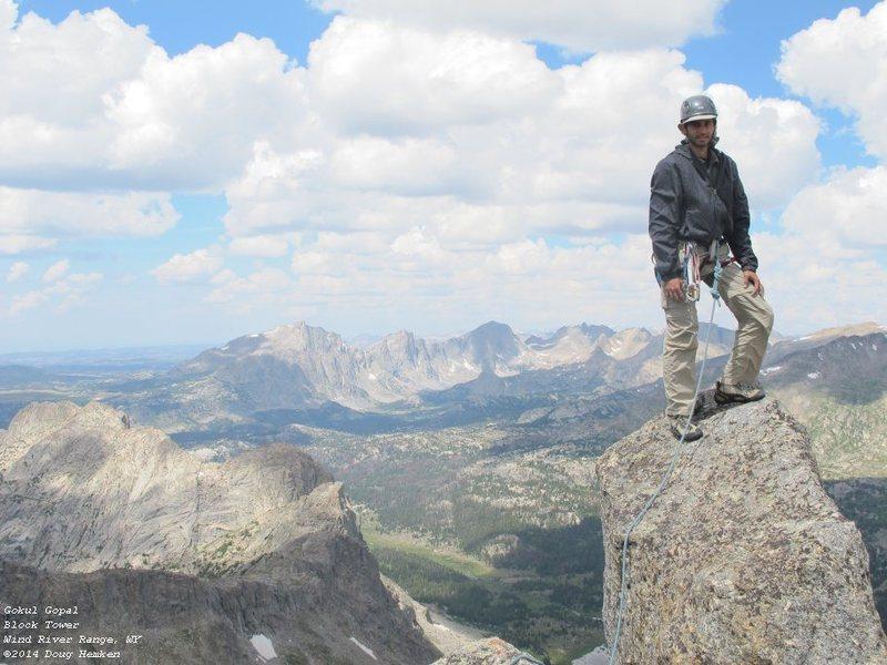 Rock Climbing Photo: Gokul on the summit of Block Tower