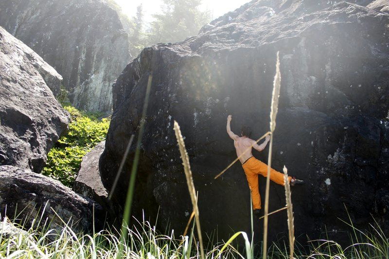 Redwood Coast bouldering...<br> <br> Climber: Josh Kornish<br> photo credit: Cristine Boles