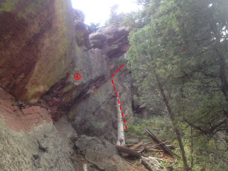 The descent ramp I used instead of the flake or rappelling.  The flake can be seen in the foreground for distance perspective.