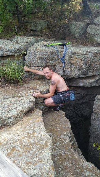 Rock Climbing Photo: Topping out on Offwidth Lieback