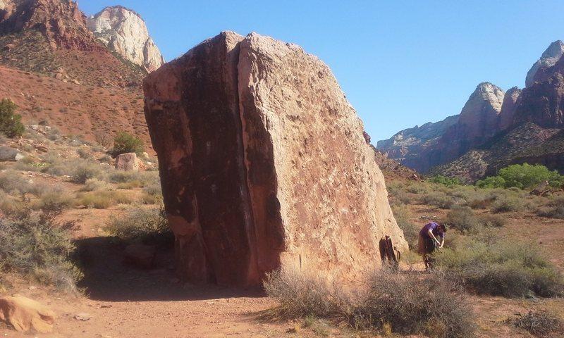 Drilled pocket boulder.