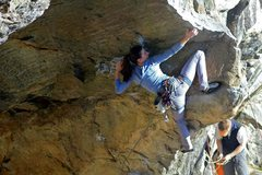 Rock Climbing Photo: Alexa reaching through the lower crux