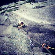 Rock Climbing Photo: Tim Mijal on an afterwork lap of Union Jack
