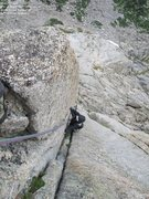 Rock Climbing Photo: Gokul, about p9 (just above the East Ledges)