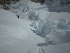 Rock Climbing Photo: Navigating the icefall on the NE fork of the Kahil...