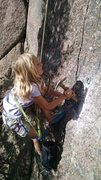 Rock Climbing Photo: She had to hit it a bunch of times but got that bo...