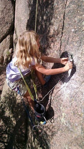Rock Climbing Photo: Finishing up the job, Prancer 5.7 in Unicorn Valle...